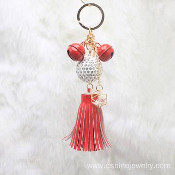 Leather Tassel Keychain With Clasp For Bag Shambala Pendant