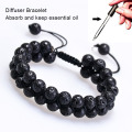 Knotted lava stone diffuser bracelet for essential oils