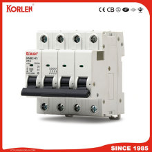 KORLEN new type mini circuit breaker 1A-63A 4P  MCB 10KA capacity with CE CB SEMKO SIRIM