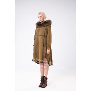 Goods high definition for New Design Fur Coat Spain Merino Shearling Coat With Motif supply to Russian Federation Manufacturer