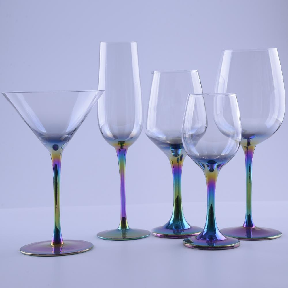 Handmade Long Rainbow Stemmed Clear Color Wine Goblet