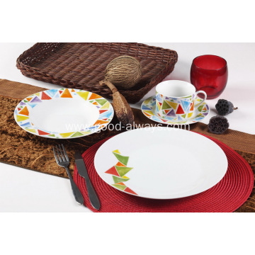 16 Piece Round White Porcelain Dinner Set Mosaic