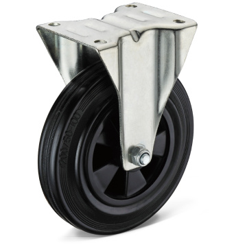 13 Series Black Rubber Flat Bottom Fixed Casters
