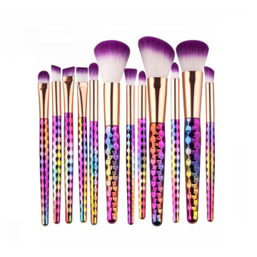 12pcs Rainbow Colorful Bling Prismatic Makeup Brushes Kit