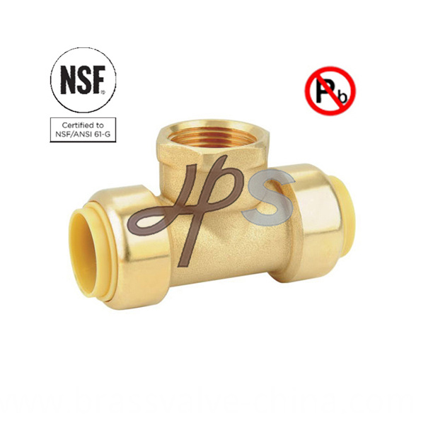 Lead Free Brass Push Fit Fnpt Tee For Drinking Water