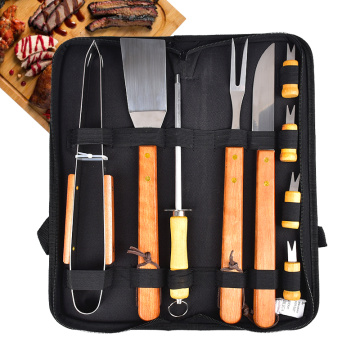 Woodle Handle Stainless Steel BBQ Tools Set