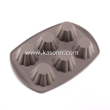 Square 6 Cavity Silicone Muffin Pan