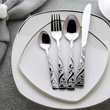 24pcs Stainless Steel Flatware Set Wooden Box