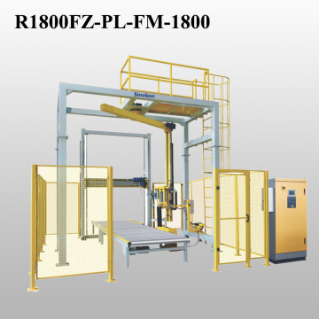 rotary arm and top dispenser pallet packaging line