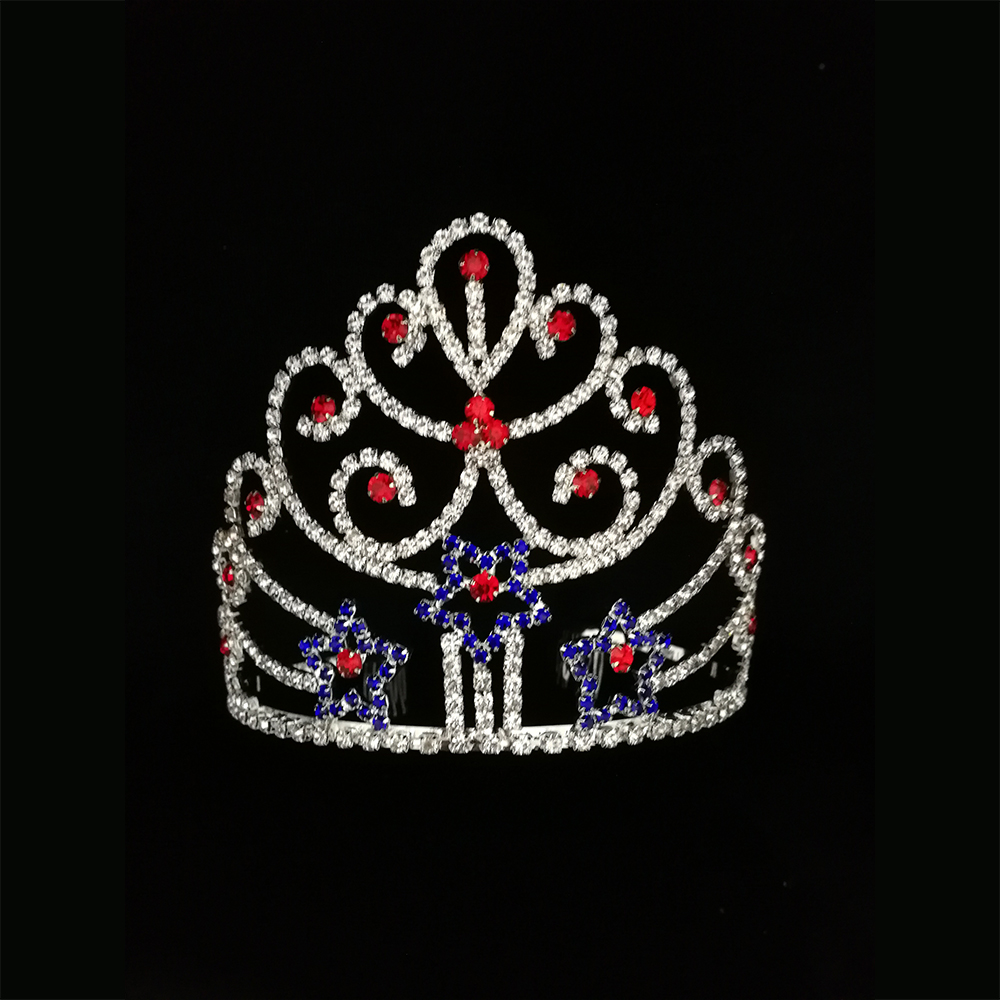 Red Blue Star Tiara Pageant Crown For Patriotic