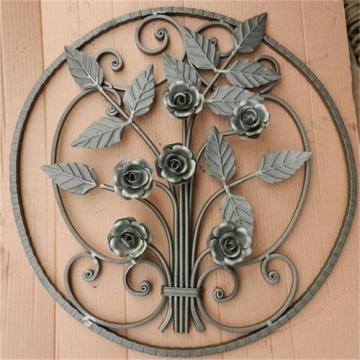 Factory supplied for Hand Forged Steel Balusters, newel posts, rosettes, gate handles, gate lock plate, balls, basket, grapes etc. Wrought Iron stair Rosettes export to Suriname Importers