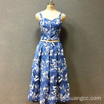 Women's cotton blue leaf top and dress
