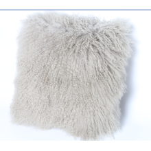 Mongolian Curly Lamb Fur Cushion Light Grey