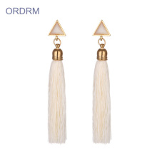 Good Quality for Tassel Dangle Earrings Statement white cream tassel earrings cheap export to South Korea Suppliers