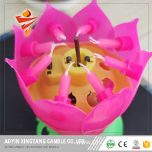 Wholesale Birthday Lotus Flower Rotating Music Candle