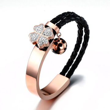 Leather swarovski crystal four leaf clover bracelet
