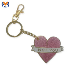 Personalized heart shape keychain with glitter