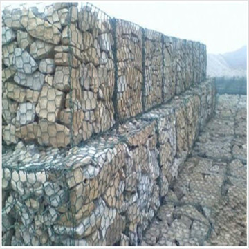 PVC coated and galvanized woven gabion basket