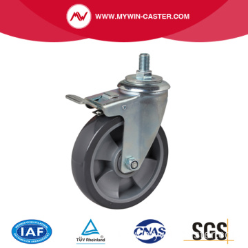 "Medium 6"" 200Kg Threaded Brake PU Caster"