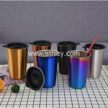 Multicolor 304 Stainless Steel Cup with Lid