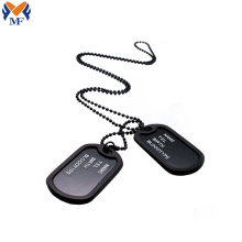 Custom embossed logo black military dog tag