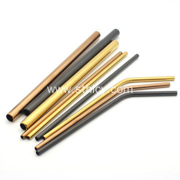 Stainless Steel Smooth Edging Multicolor Metal Straw