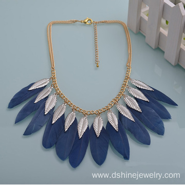Customized for China Vintage Necklaces, Vintage Necklaces Wedding , Purple Vintage Necklaces manufacturer Costume Jewelry With Feather Chain Tassel Pendant Necklace export to Netherlands Factory