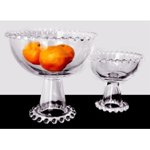 Cheapest Factory for China Large Fruit Bowl, Modern Fruit Bowl, Decorative Fruit Bowl, Glass Fruit Plate Factory Hand pressed beaded Edge Pedestal Bowl supply to Benin Manufacturers