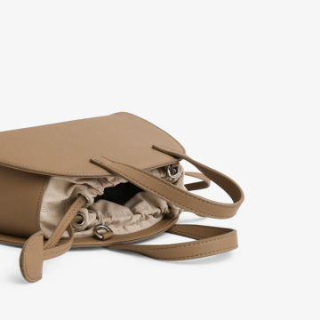 Khaki thin shoulder strap shell bag