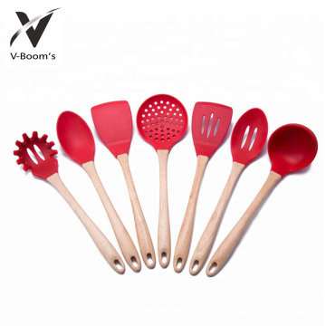 Silicone Utensil Set Natual Wood Handle