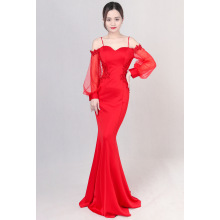 Lantern sleeve long sleeve fishtail evening gown long style of 2017 new autumn one word shoulder long sleeve elegant sexy