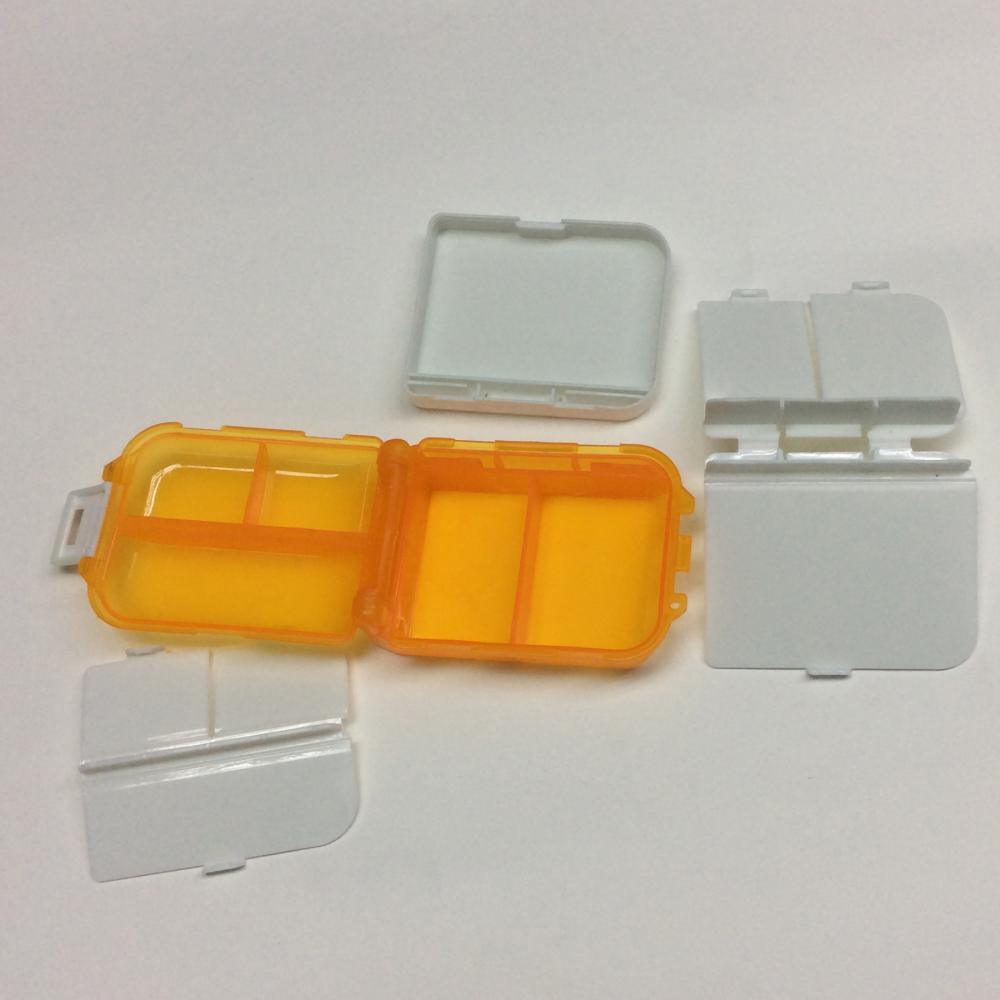plastic three-layer square pill case