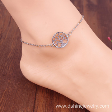 Street Fashion Simple Forest Style Alloy Silver Tree Anklet Bracelet