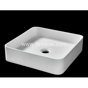 White Modern solid surface washbasin for hotel