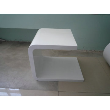 Contemporary small white wooden side table