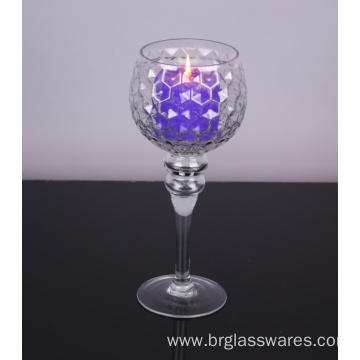 Hot selling attractive for Pillar Candle Holders mouth blown glass hurricane candle holders export to Mozambique Manufacturers