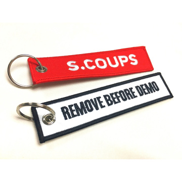 Custom promotional fabric embroidery key rings tag