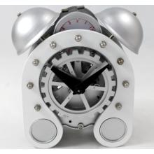 Silver Gear Desk Alarm Clock