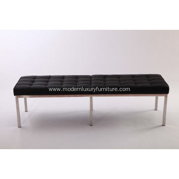 Knoll black leather bench
