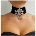 Wide Black Velvet Choker Gothic Rhinestone Necklace Jewelry