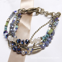 Multilayers Glass Crystal Bracelet Wholesale Beaded Bangles