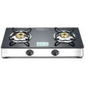 Black/Silver Glass Top Gas Stove