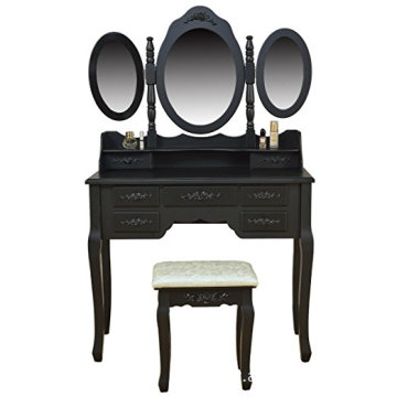 Black Wooden Makeup Vanity Table Set Tri-folding Mirror with Cushioned Stool Set