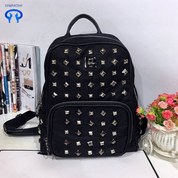 Double shoulder bag rivets large capacity travel bag