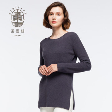 Women's crew neck long cashmere pullover