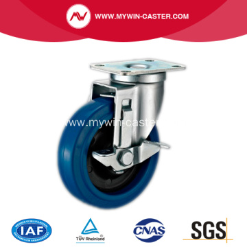 4'' Plate Swivel Blue Elastic Rubber Caster with side brake