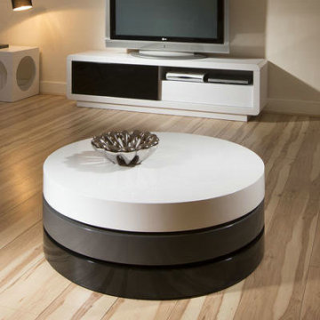 Customized for Living Room Coffee Table Modern 3 Tone Lacquer Round Coffee Table export to Spain Supplier
