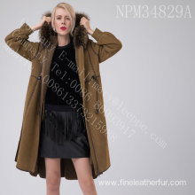 Merino Shearling Overcoat With Motif For Women