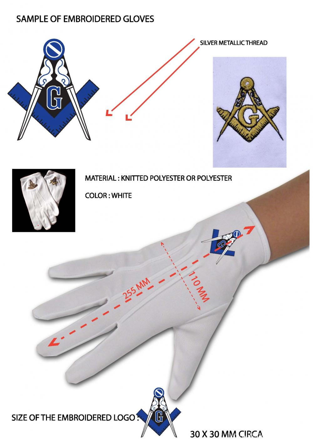 Polyester Masonic Gloves for Freemasons