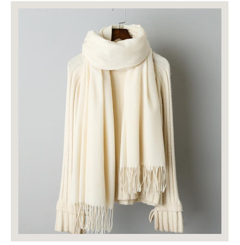 Cashmere solid color scarf knitted tassel shawl (5)